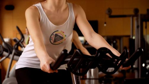 Girl on an Exercise Bicycle