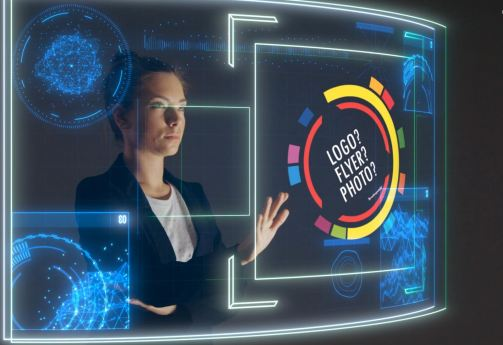 Business Woman with Hologram